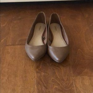 Express Tan Faux Leather Flats